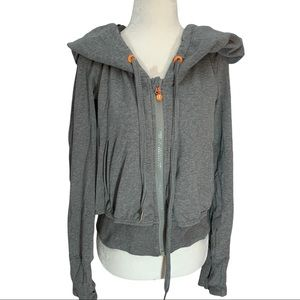 Lululemon Limited Edition Grey Jersey Hoodie Wide Ruched Hood Mesh Lining 6